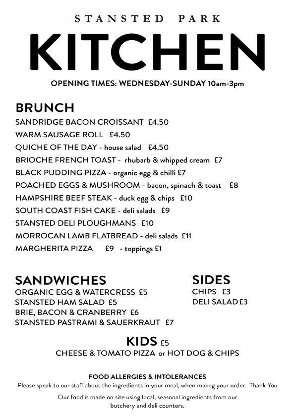 Stansted Kitchen March Menu